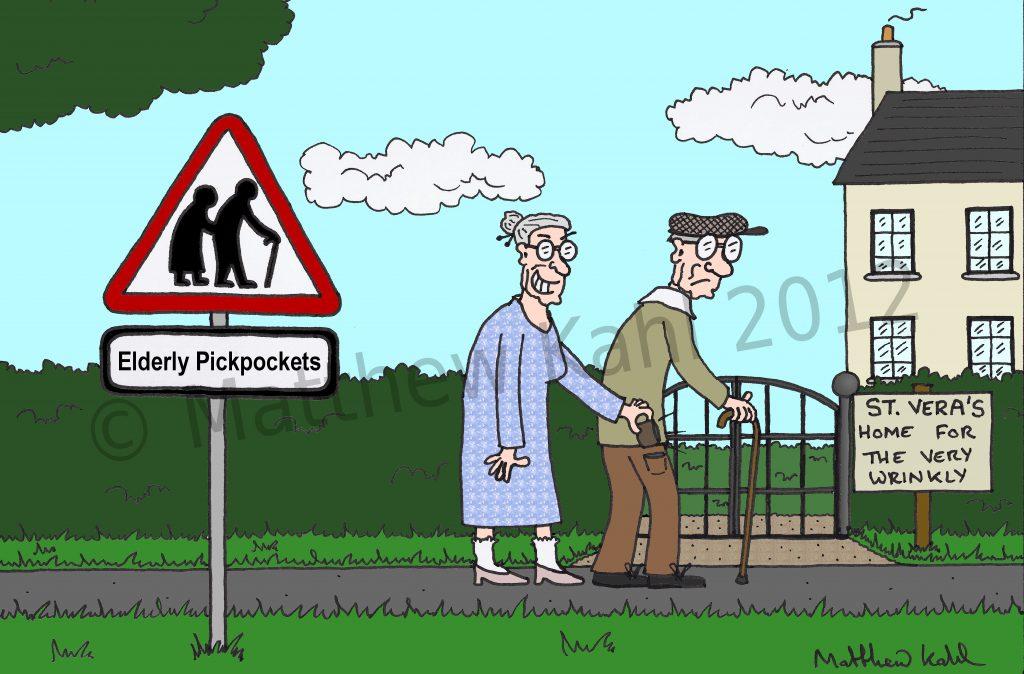 Elderly Pickpockets Road Sign