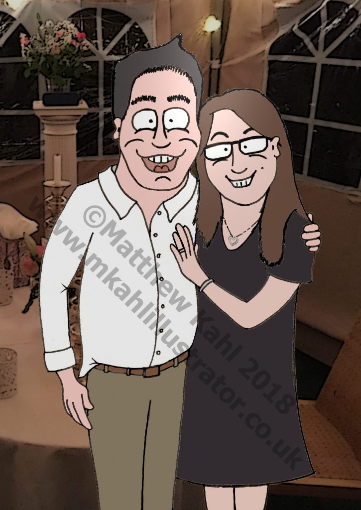 Caricature with Detailed Background
